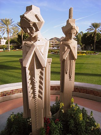 Arizona Biltmore Hotel - Replicas of the Midway Gardens sprites at the Arizona Biltmore
