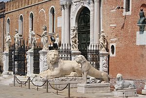 HSBC lions - Lion statues outside the Venetian Arsenal.
