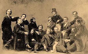 Artel of Artists - Artel of Artists (1863-1864) (l-r) Venig, Zhuravlev, Morozov, Lemokh, Kramskoi, Litovchenko, Makovsky, Dmitriev-Orenburgsky, Petrov, Kreitan, Peskov, Shustov, Korzukhin, Grigoryev