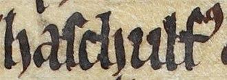 Ascall mac Ragnaill - Image: Ascall mac Ragnaill (British Library Royal MS 13 B VIII, folio 46v)