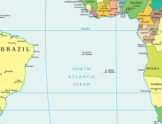 3rd Portuguese India Armada (Nova, 1501) - Positions of Ascension island (discovered by Third Armada in May, 1501) and Saint Helena (discovered May, 1502) in the South Atlantic Ocean