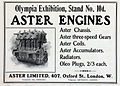Aster advert, February 1905, Olympia exhibition - engines, chassis, gears, coils, accumulators.jpg