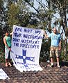 Asylum seekers on the roof of Villawood Immigration Detention Centre.JPG