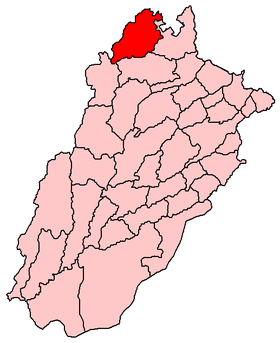 Le district d'Attock (en rouge) au sein du Pendjab.