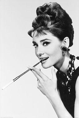 Audrey Hepburn smokes