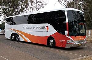 Australia Wide Coaches - Coach Design bodied Scania K480EB in Wagga Wagga in November 2009