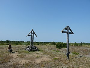 Pustozersk - The memorial crosses on the site of Pustozyersk, placed where Avvakum was burned