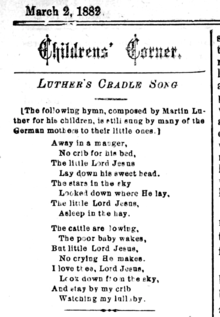 graphic about Lyrics to Away in a Manger Printable called Absent inside of a Manger - Wikipedia