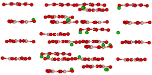 Barium borate - Crystal structure of BBO viewed nearly perpendicular to the c-axis. Colors: green – Ba, pink – B, red – O
