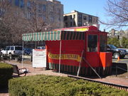 The Campus Trolley diner on the corner of Granby Street and Commonwealth Avenue. The BU College of Arts and Sciences building is visible in the background