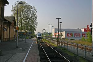 Dorsten station - Platforms 1 west and 2 west with a DMU leaving for Oberhausen Hbf, 2014