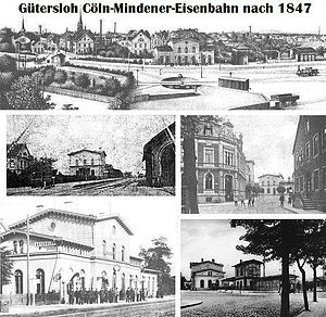 Gütersloh Hauptbahnhof - Gütersloh's first station building opened by the Cologne-Minden Railway Company in 1847