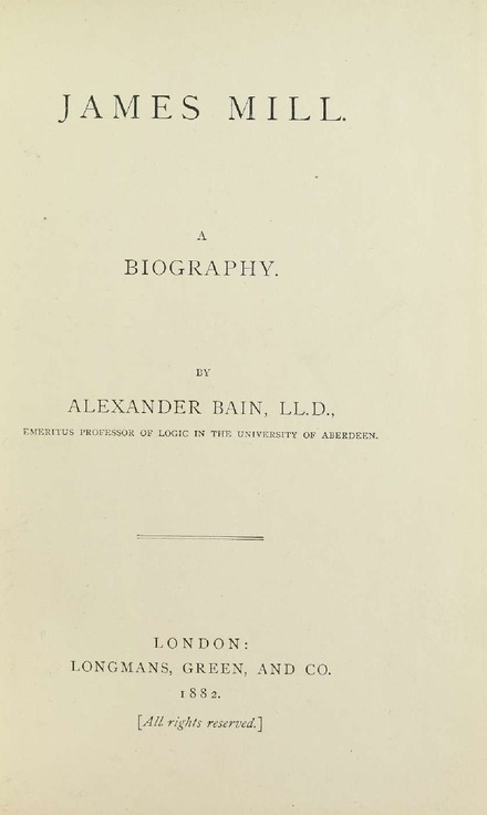 Cover page of Bain's biography of James Mill, 1882