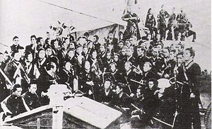Battle of Hakodate - Rebel troops of the former Bakufu, being transported to Hokkaidō.