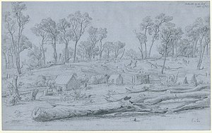 Ballarat - Pencil drawing of goldfields camp at Ballarat