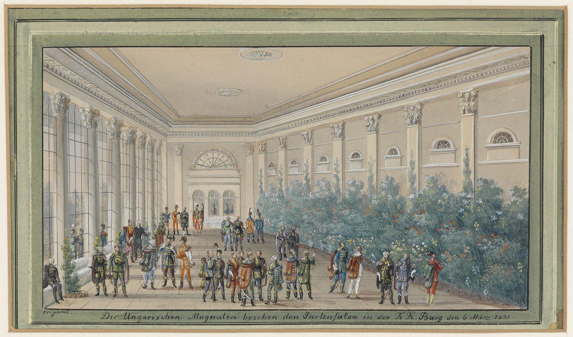 Balthasar Wigand Die Ungarischen Magnaten besuchen den Gartensalon in der Burg 1831.jpg