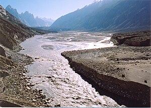 Braldu River - The Braldu River, with the Baltoro Glacier in the background