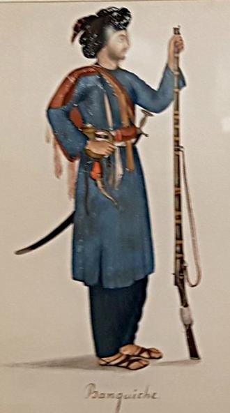 Bangash - A Bangash tribesman, 1827-1843. By Imam Bakhsh Lahori, Illustrations des Mémoires du général Claude-Auguste Court, Lahore