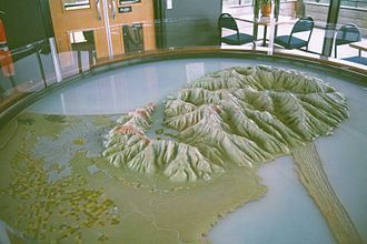 Banks Peninsula - Model of Banks Peninsula, showing the mountainous nature otherwise atypical for the Christchurch area.