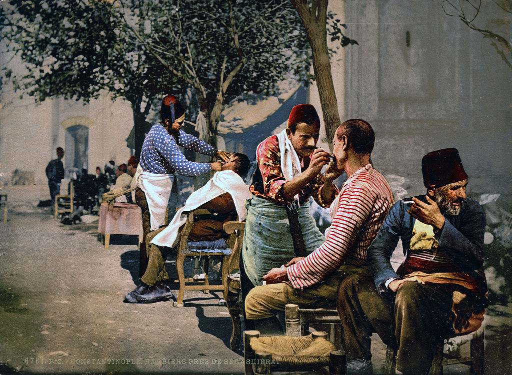 Barbers near Seraskerat, Constantinople, Turkey, ca. 1895