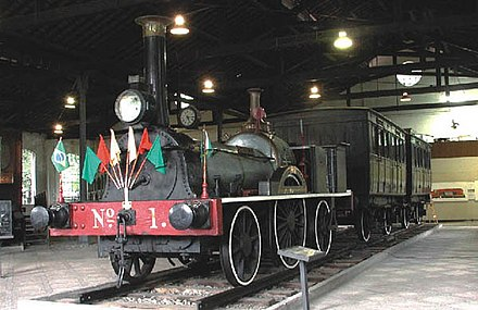 The first Brazilian locomotive, Baroneza, today being exhibited in the Museu do Trem in Rio de Janeiro. Baroneza.JPG