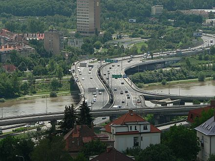 Barrandov Bridge, part of the Prague Inner Ring Road Barrande bridge.JPG