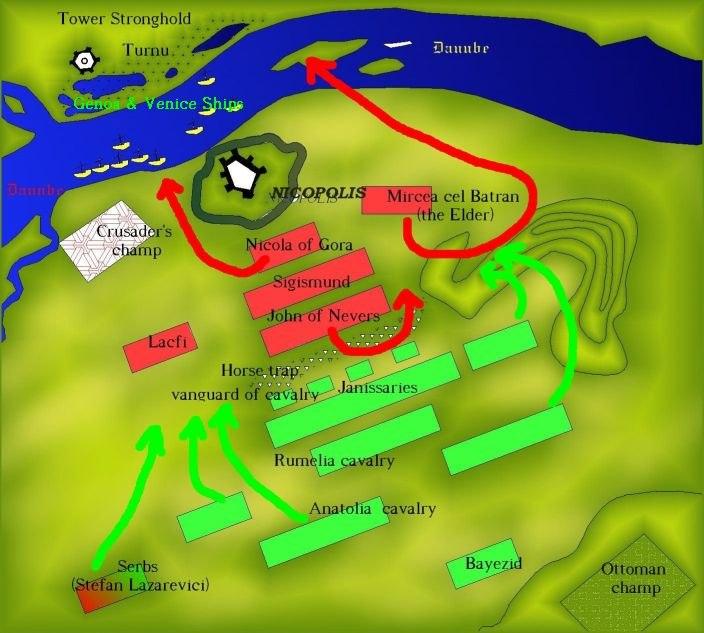 Battle of Nicopole battle map 1396