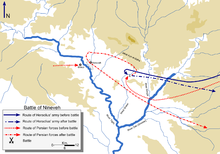 Both Heraclius and the Persians approached from the east of the ruins of the ancient Assyrian Empire capital of Nineveh in Assuristan (Assyria) province. Persian reinforcements were near Mosul. After the battle, Heraclius went back east while the Persians looped back to Nineveh itself before following Heraclius again.
