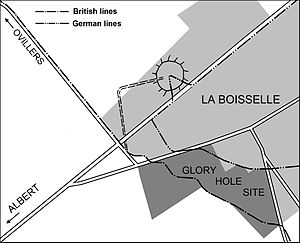 Capture of La Boisselle - Image: Battle of the Somme 1916 Y Sap mine, La Boisselle