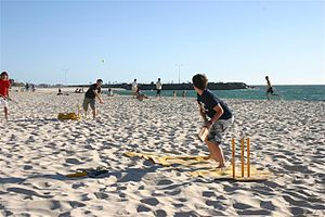 Cottesloe, Western Australia - Beach cricket being played at Cottesloe Beach