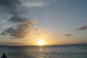 Sunset on the beach at The Beaches resort on t...