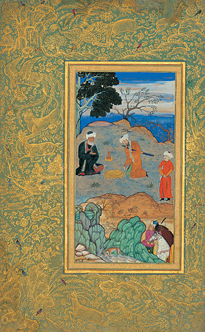 Persian miniature - Behzad's Advice of the Ascetic (c. 1500-1550).  As in Western illuminated manuscripts, exquisitely decorated borders were an integral part of the work of art.