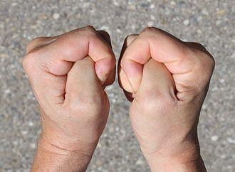 Crossed fingers - Pressing thumbs as gesture to wish for luck in German-speaking countries.