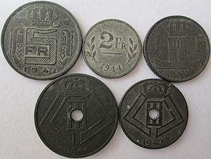 Belgian franc - Belgian zinc coins made during World War II.