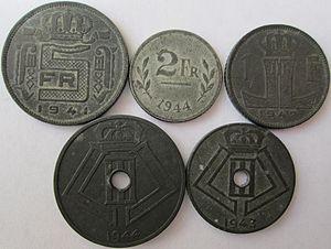 Belgian franc - Belgian zinc coins made during World War II.