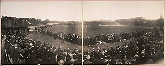 Tiger Stadium (Detroit) - Bennett Park on October 12, 1907, during a World Series game between the Detroit Tigers and Chicago Cubs.