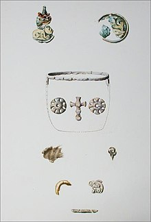 Colour image of a Llewellynn Jewitt watercolour depicting the Benty Grange hanging bowl escutcheons and associated finds