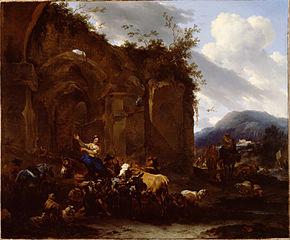 Maréchal-ferrant et paysans près de ruines romaines