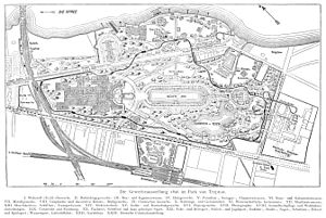 Great Industrial Exposition of Berlin - fairground map (showing a length of about 2 km with the river Spree at the top)