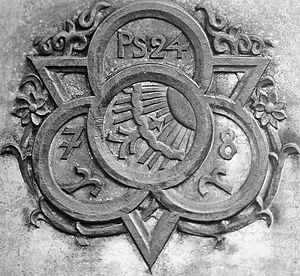 Bertelsmann - The original C. Bertelsmann Verlag company logo as it appears on Carl Bertelsmann's tomb in Gütersloh.