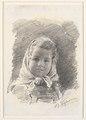 Bertha Wegmann, Portræt af en lille pige med tørklæde om hovedet, udateret, Kks1970 130, Statens Museum for Kunst.tif