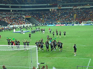 2006 Turkish Super Cup - Beşiktaş footballers celebrating their Turkish Super Cup win and saluting the supporters in Commerzbank-Arena.