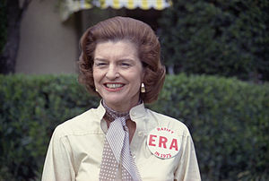 First Lady Betty Ford sports a button expressi...