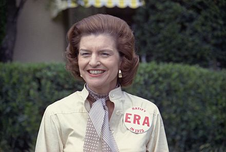 Betty Ford showing her support publicly for the Equal Rights Amendment Betty Ford ERA.jpg