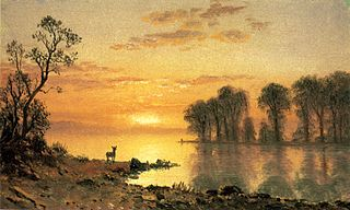 Sunset, Deer and River