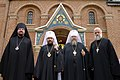 Bishop John of Naro-Fominsk, Metropolitan Hilarion of Volokolamsk, Metropolitan Jonah and archpriest Victor Potapov at St. John The Baptist Cathedral in Washington, May 13, 2017 (34261759310).jpg