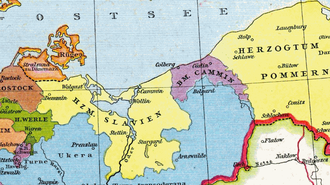 Lands of Schlawe and Stolp - Schlawe and Stolp as part of Herzogtum Pommern (i.e. Duchy of Pomerelia) under Duke Swantopolk II about 1250; 1886 map by Gustav Droysen
