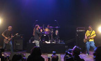 Black Flag (band) - Left to right: Stephen Egerton, Keith Morris, Bill Stevenson, and Chuck Dukowski performing as Black Flag at the GV30 show in December 2011