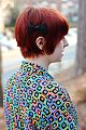 Black Lace Bow in a Red Pixie Cut, 80s Geometric Blouse.jpg
