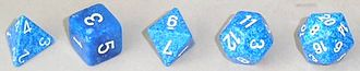 Glossary of board games - The five Platonic solid polyhedrals (starting from left): tetrahedron (d4), cube (d6), octahedron (d8), dodecahedron (d12), icosahedron (d20)